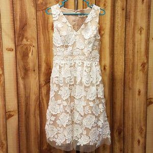 Modcloth Eliza J White Flowers over Beige Dress